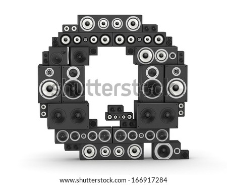 Letter Q from black hi-fi speakers sound systems - stock photo