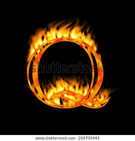 Letter Q. Letter symbol. Fire alphabet letter isolated on black. Look for more symbols in my gallery.