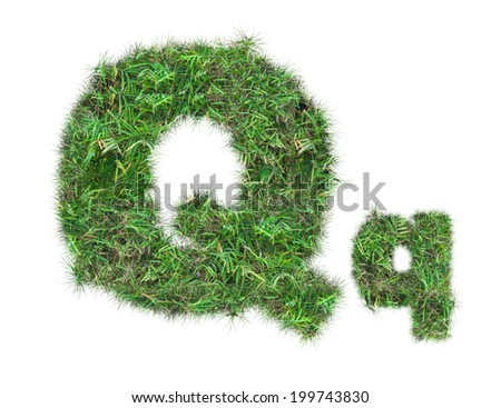 letter Q on green grass isolated on over white background