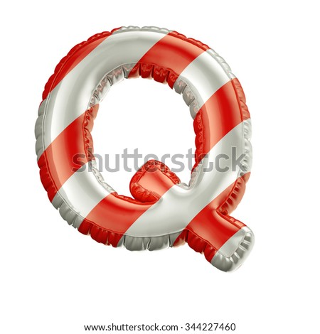 Letter Q. Red and white Balloon font isolated on White Background.Birthday alphabet. - stock photo