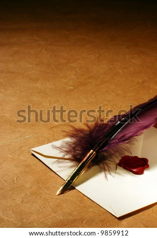 Letter & Quill - stock photo