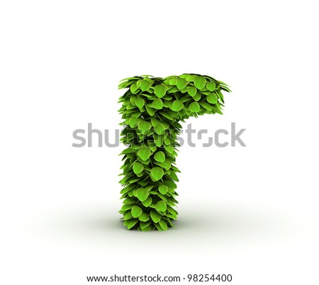 Letter  r, alphabet of green leaves, small caps - stock photo