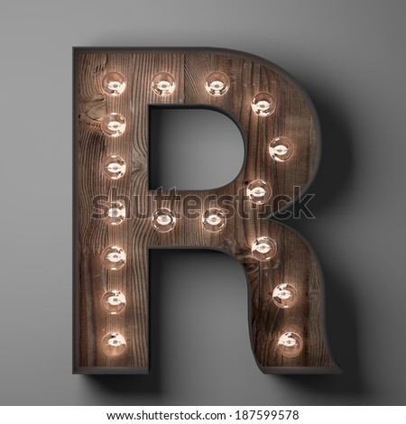 Letter R for sign with light bulbs - stock photo