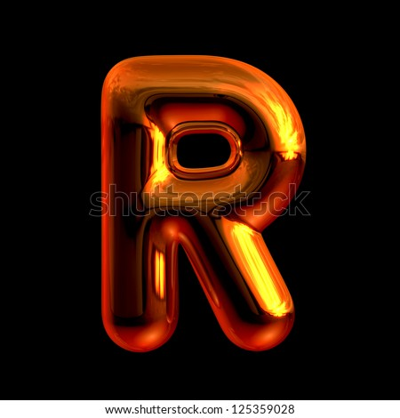 Letter R from chrome orange sunset alphabet. There is a clipping path - stock photo