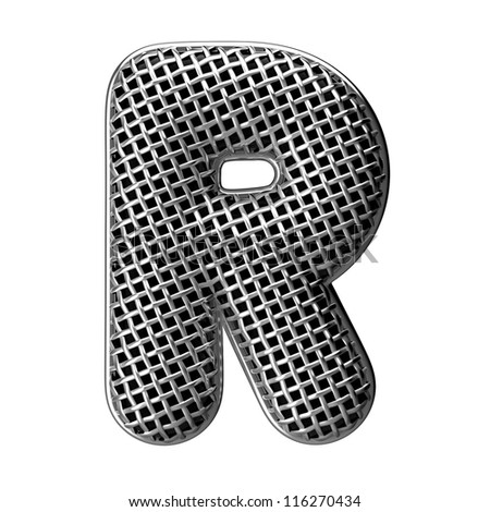 Letter R from round microphone style alphabet. There is a clipping path - stock photo