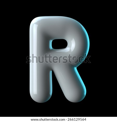 Letter R from round white blue light alphabet. There is a clipping path