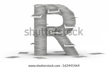 Letter R, from stacks of paper pages font - stock photo
