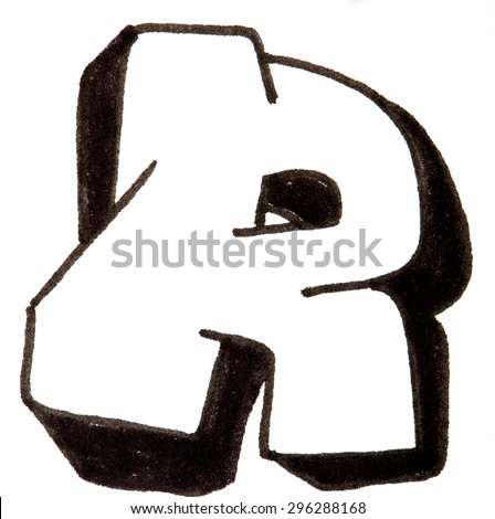 Letter R, hand drawn alphabet in graffiti style with a black fiber tip pen - stock photo