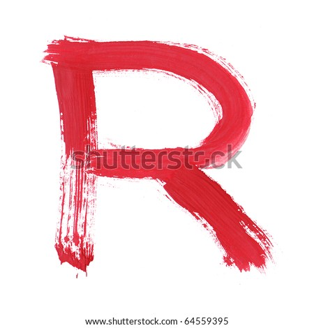 Letter R handwritten paint stroke sketch. Red Isolated on white background. One from collection set.