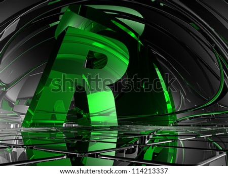 letter r in abstract futuristic space - 3d illustration