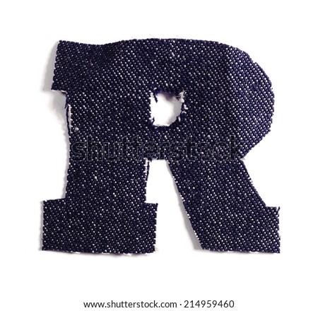 Letter R. Jeans alphabet Isolated on White. Handmade font. - stock photo