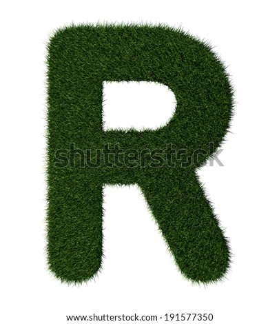 Letter R made with blades of grass