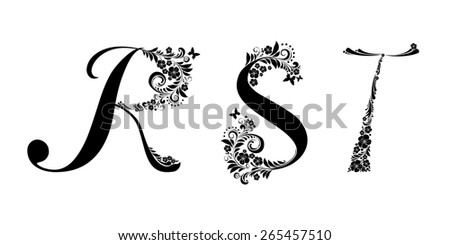 Letter R S T Isolated On White Romantic Of Beautiful Flowers