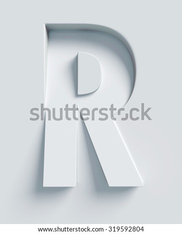 Letter R slanted 3d font engraved and extruded from the surface - stock photo