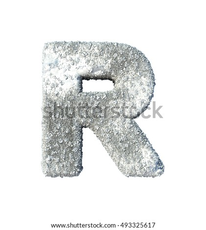 Letter R. Snow font isolated on White Background. 3d rendering