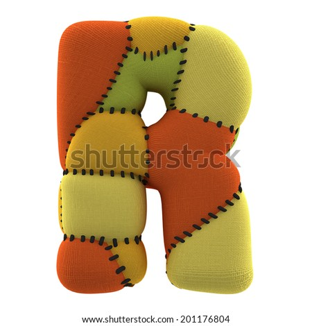 Letter R. Textile toy font  isolated on White Background. - stock photo