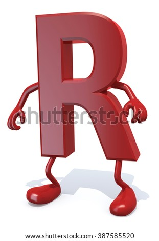 letter R with arms and legs posing, isolated on white 3d illustration - stock photo