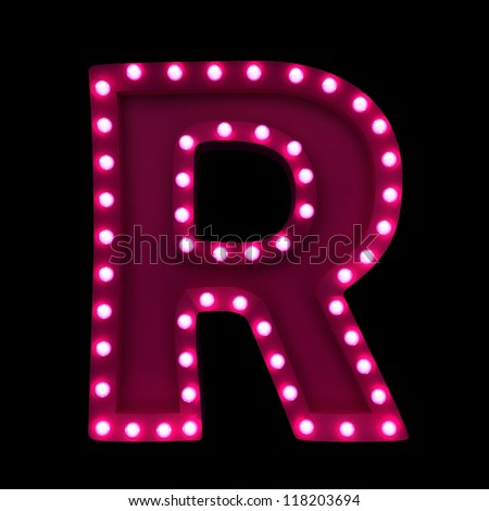 letter R with neon lights isolated on black background - stock photo
