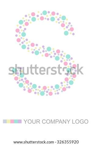 Letter S Alphabet design polka dot , - stock photo