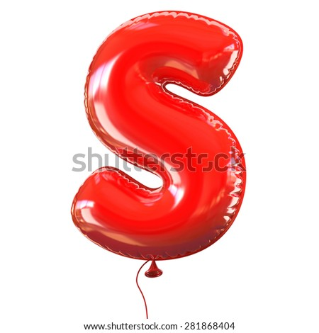 letter S balloon font - stock photo