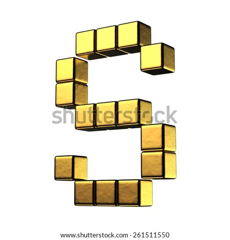 Letter S from big cube gold perspective alphabet. There is a clipping path - stock photo