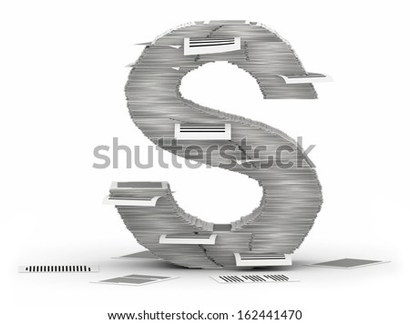 Letter S, from stacks of paper pages font - stock photo