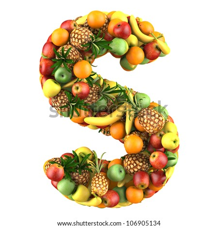 Letter - S made of fruits. Isolated on a white.