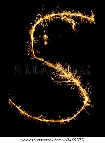 Letter S made of sparkler - stock photo