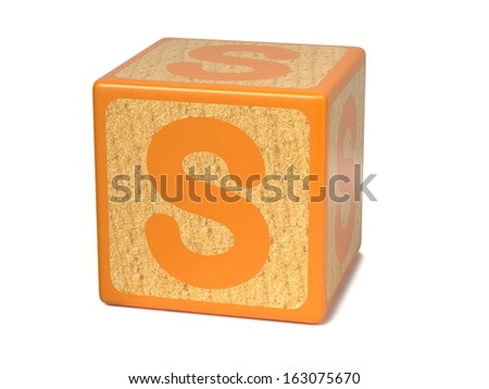 Letter S on Orange Wooden Childrens Alphabet Block  Isolated on White. Educational Concept. - stock photo