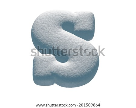 Letter S. Snowball font isolated on White Background.