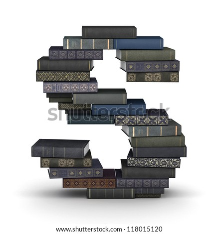 Letter S, stacked from many  books in pile - stock photo