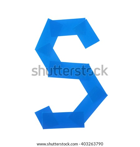 Letter S symbol made of insulating tape pieces, isolated over the white background - stock photo