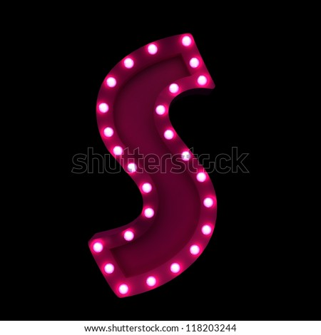 letter S with neon lights isolated on black background - stock photo