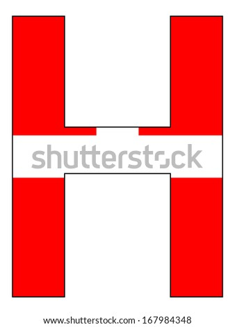 Letter series with flag inside - Denmark
