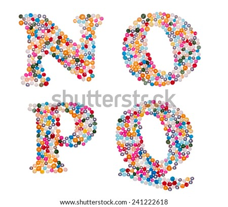 Letter set made of colorful sprinkles - capital letters N O P Q - stock photo