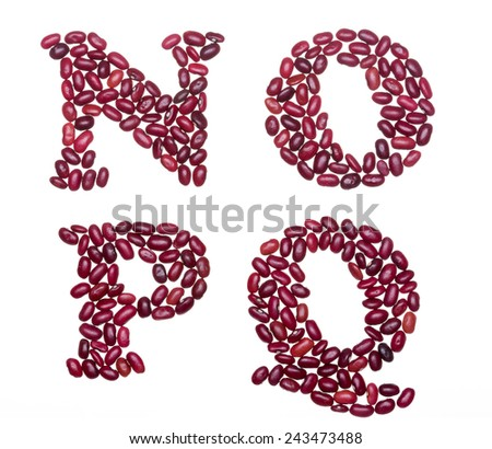 Letter set made of red kidney beans - capital letters N O P Q - stock photo