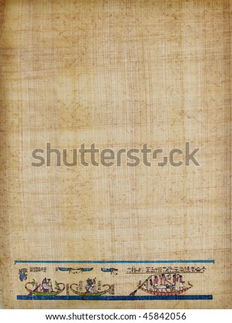 letter shaped sheet of Egyptian papyrus paper, with a traditional burial scene