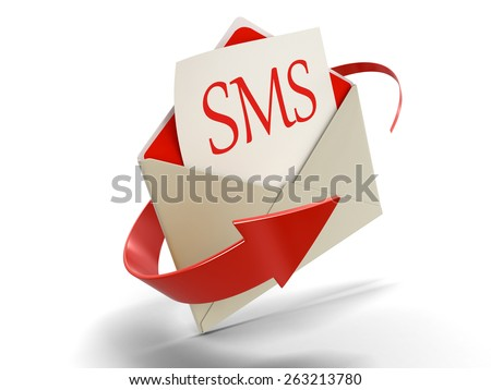 Letter SMS (clipping path included) - stock photo