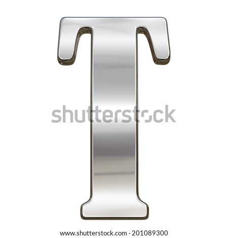 Letter T from chrome solid alphabet isolated on white - stock photo