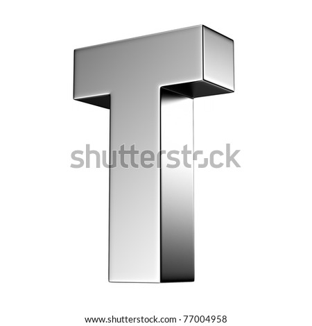 Letter T from chrome solid alphabet. There is a clipping path - stock photo