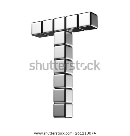 Letter T from digital cube middle perspective alphabet. There is a clipping path - stock photo