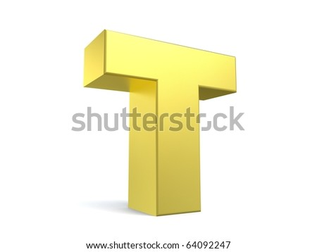 letter T from my golden collection - stock photo