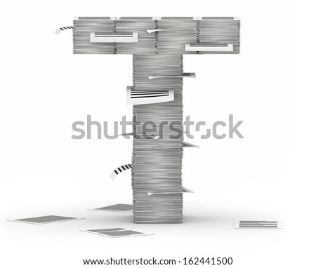Letter T, from stacks of paper pages font - stock photo