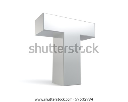 letter T in metal - stock photo
