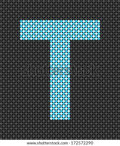 Letter T made from dots