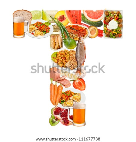 Letter T made of food isolated on white background - stock photo