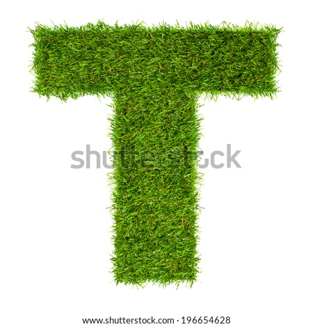 Letter T made of green grass isolated on white - stock photo
