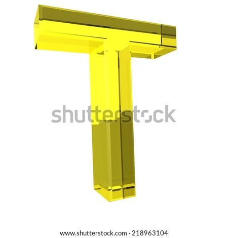 Letter T - Yellow Glass Alphabet - stock photo