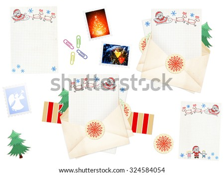 Letter to Santa Claus. Collection of elements for Christmas design - stock photo