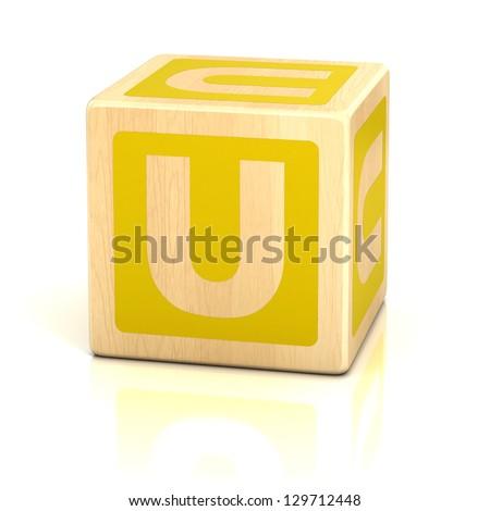 letter u alphabet cubes font - stock photo